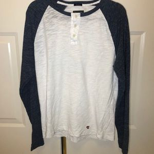 Abercrombie & Fitch Navy/ White Long Sleeve Tee